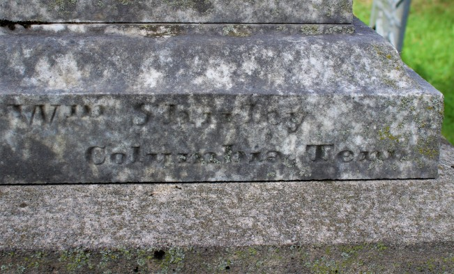 "Shirley ""signature"" on Harrison monument"