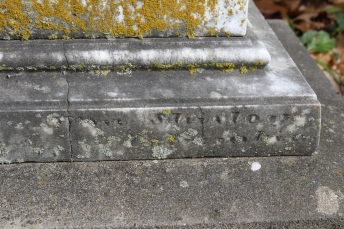 "Shirley ""signature"" on the base of the Whitthorne monument"