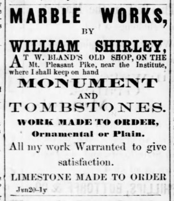 1871 ad for William Shirley