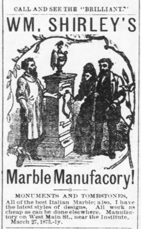 1874 ad for William Shirley