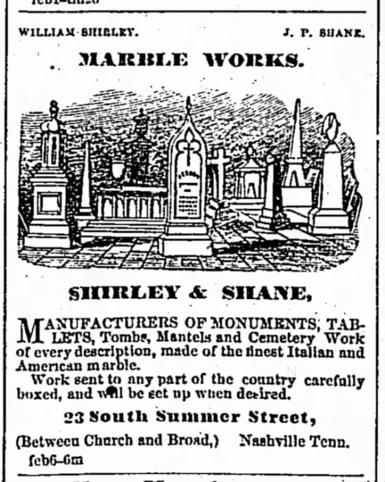 1867 ad for Shirley & Shane